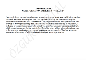 WORD FORMATION - THEATRE - ANSWER KEY